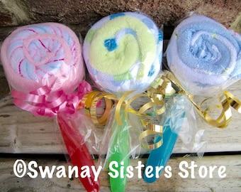Baby Washcloth Lollipops