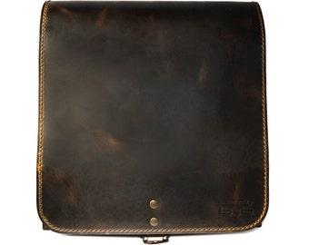 Leather messenger bag men leather bag crossbody handmade satchel shoulder bag handbag vintage look pull up vertical bag