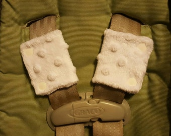 White Minky Car Seat Strap Covers for Newborns with Side Snaps