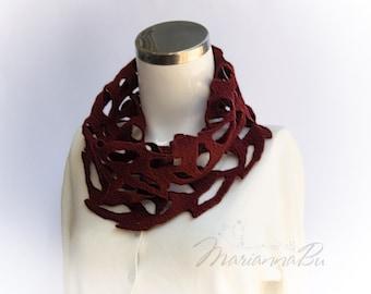 Infinite openwork scarf Marsala circle scarf Women Fashion Accessories