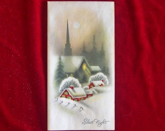 1950's Snowy Country Church Christmas Greeting Card on Parchment Unused