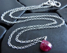 Simple Wire-Wrapped Natural Ruby and Sterling Silver Pendant, Minimalist Necklace, Layering Necklace, July Birthstone, Mother's Day Gift