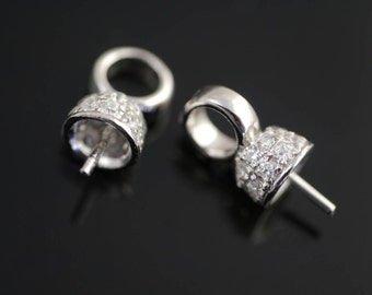 Sterling Silver 7mm Bail Cup set with Cubic Zirconias