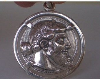 For Sale Dionysus Bacchus Satyr Sterling Silver Pendant - Phallus - Dionysos God of Wine