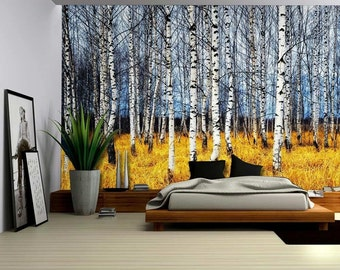 landscape mural of a birch tree forest wall mural 100x144 inches