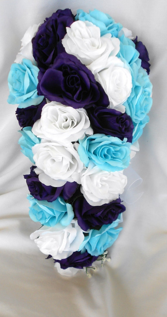 Malibu blue white and royal purple cascading bridal wedding bouquet 2pc. Free small toss