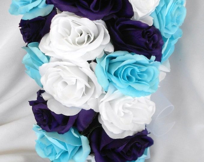 Blue white and royal purple cascading bridal wedding bouquet 2pc. Free small toss