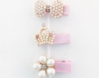 Diva Hair Clips - Baby Girl and Toddler (Crown, Bow & Flower)