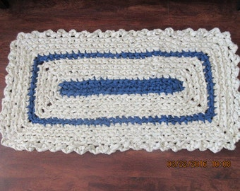 Crocheted blue and white rag rug. Colors match JW99 and JW100. Rug is washable. Shipping included     Priorit mail   JW101