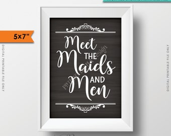 "Meet the Maids & Men Sign, Maids and Men Wedding Sign, Bridesmaids Groomsmen, Chalkboard Style, 5x7"" Instant Download Digital Printable File"