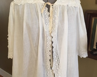 Victorian White Bed Jacket