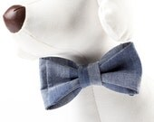 Handmade Adjustable Dog Or Cat Bow Tie Collar Chambray Denim Patchwork Print - 3 Sizes!