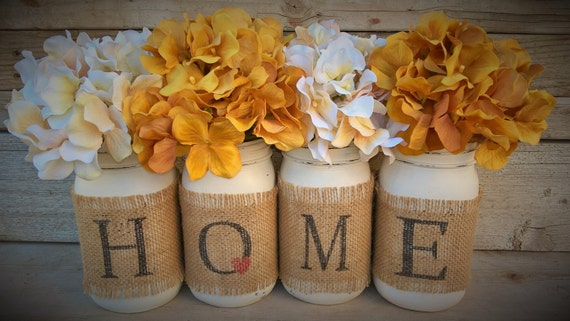 Country home decor mason jars with burlap by for Southern country home decor