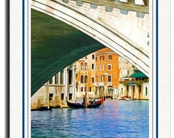 Photo Greeting Card, Handmade Card, All Occasion Card, Venice Italy, Gondola Boat, Rialto Bridge, 5x7 Blank Card, Photo Note Card