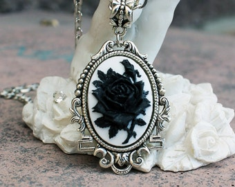 Gothic necklace, black rose necklace, vintage necklace, silver necklace