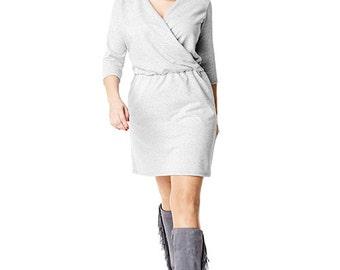 V-neck dress in gray