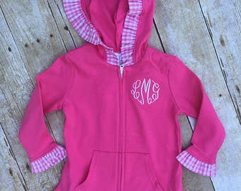 Girls Jacket, Monogrammed Girls Hooded Zip Jacket, Toddler Gingham Ruffle Jacket, Cotton Jacket, Sweatshirt Jacket