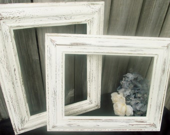 Shabby Chic Set Open Frames Wedding prop Wall Hangings Picture Frames Old White Gold Distressed White Frames Rustic Frames Vintage SOLD!!
