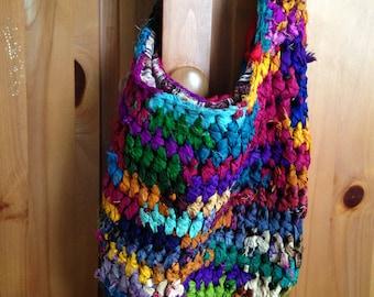 SALE - Recycled Silk Sari Crocheted Hobo Bag