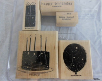 Stampin Up Birthday Whimsy rubber stamp set Wood Mounted 5 stamps