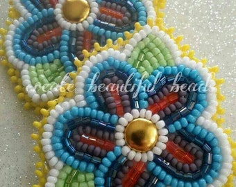 Bright Bold Beaded Floral Earrings by create beautiful beads. Buyers choice of colors and backings. The perfect beaded summertime accessory
