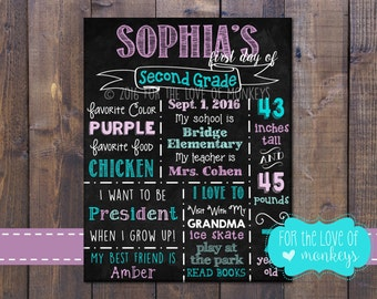 1st Day of School Chalkboard Sign, 1st Day of School Sign