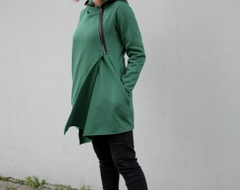 Women's Hoodie, Warm Hoodie, Cotton Coat, Asymmetrical Front Zipper, Hooded Coat, Handmade, Green  Hoodie for Women's, Clothes Navaho