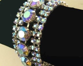 Fabulous Blue and Purple AB Rhinestone Bracelet
