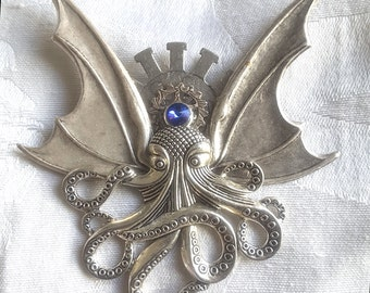 Octopunx Silver Color Steampunk Brooch Cthulu Bat-wing Flying Octopus Creature