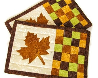 Quilted Fall Mug Rugs - Set of Two; Autumn Snack Mats; Thanksgiving Trivets; Maple Leaf Mug Rug