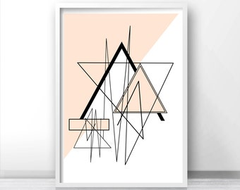 Digital Download Geometric Wall Art, Printable Art, Modern Abstract Download Print, Pink Wall Decor, Abstract Art Print, Modern Wall Art