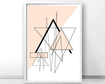 Digital Download Geometric Wall Art, Printable Art, Modern Abstract Download Print, Pink Wall Decor, Abstract Art Print, Modern Wall Art
