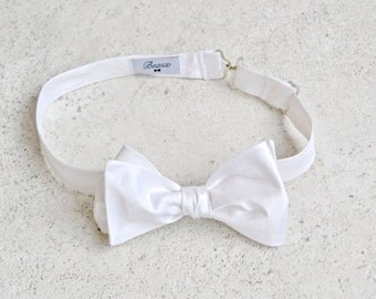 Bright White Silk Bow Tie