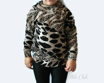 Leopard hoodie for baby, toddler and girl, cheetah sweat-shirts, cute baby gift, baby girl, fleece, gold, comfy, cozy, sweet, kids clothes