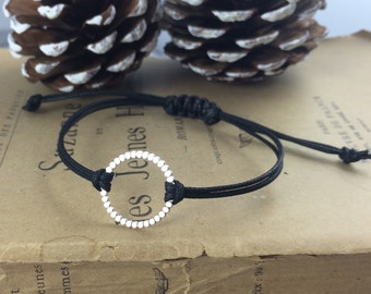 Sterling Silver Beaded Wire Circle Black Cord Bracelet with Adjustable Macrame Closure | Beach Jewellery