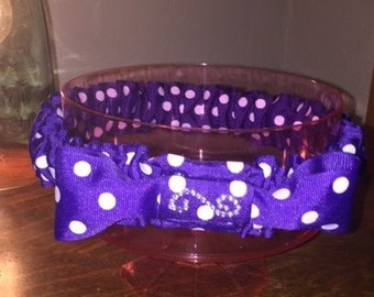 "16"" Purple with White Polka Dots Dog Necklace FREE SHIPPING"