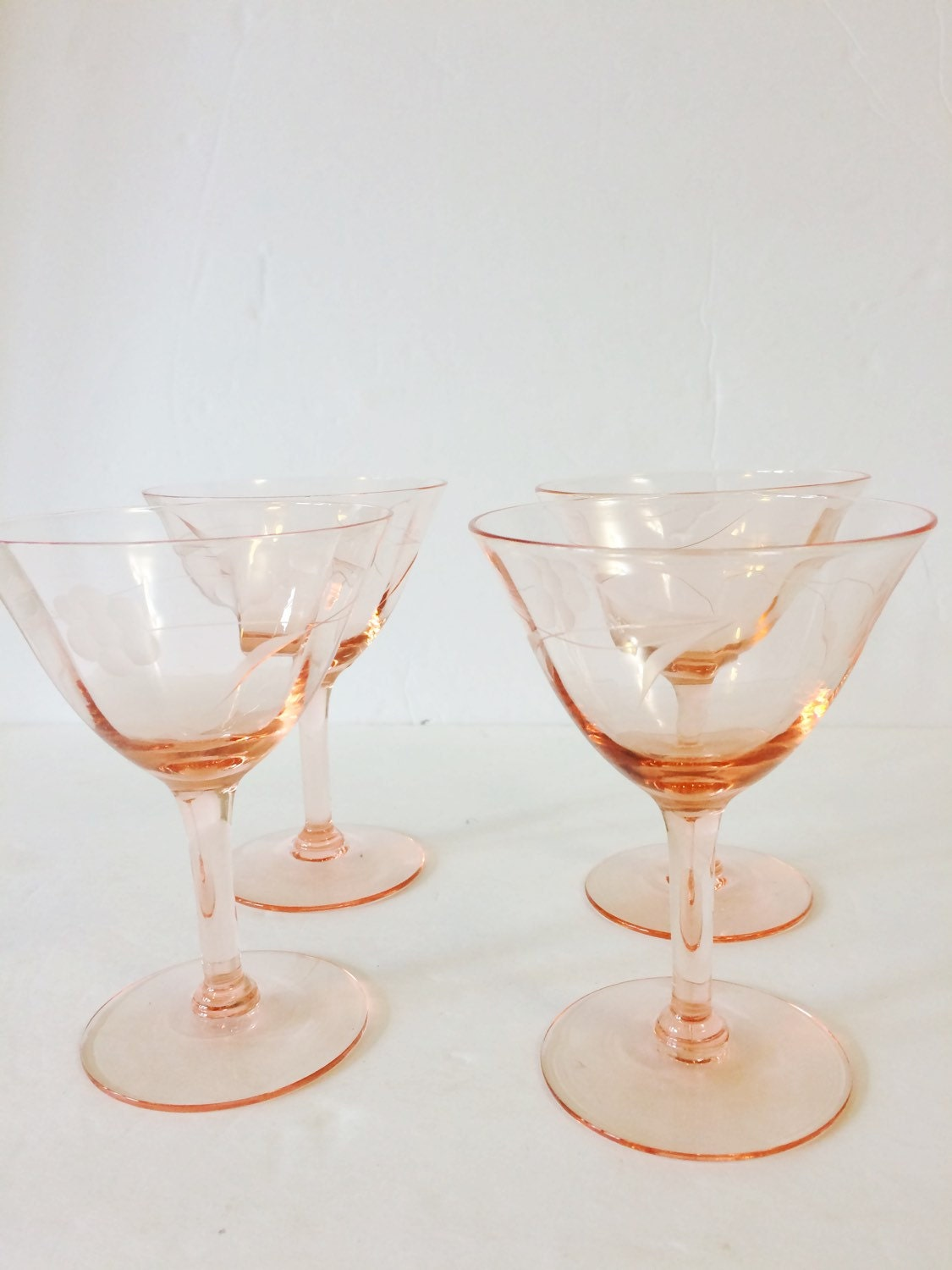 Antique Pink Etched Stemware Depression Glass