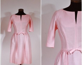 Vintage 1950s Harry Keiser Light Pink Solid Fitted Dress S
