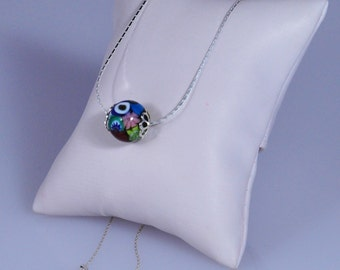925 Sterling Silver Murano Millefiori Necklace Made in England