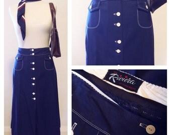 Stylish '60s Nautical Mod A-Line Skirt
