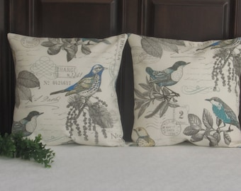 Pillow Covers, French Country Pillow covers, 16 x 16 Toss Pillow, Bird Pillow covers, Blue birds, Throw Pillows, Sofa Pillow, French Country