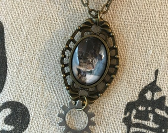Steampunk Cat, Steampunk Necklaces, Victorian, Sci-Fi Necklace, Fantasy Style, Cat Jewelry, Cat Lover Gifts, Funny Cat, Dainty Necklaces