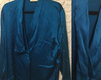 CLEARANCE SALE - Turquoise long sleeve 100% silk blouse - deep v neck - ladies medium