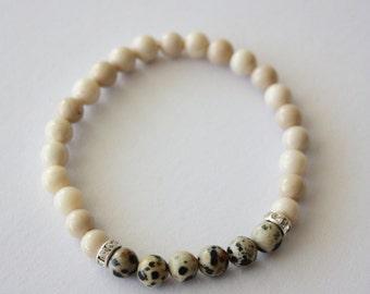 Stretch Beaded Bracelet, White Fossilized Bone Beads, Dalmatian Jasper Beads, Natural Stones, Handmade, Fortina Designs