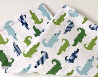 Preppy alligator baby blanket in green and navy on white flannel background   -XL swaddle blanket