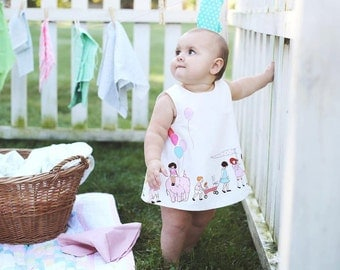 Baby bloomer set in Michael Miller's  Children at Play on Parade fabric/ -baby girl  -first birthday outfit