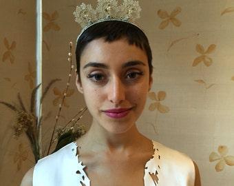 Antique lace handmade headband tiara bridal or evening