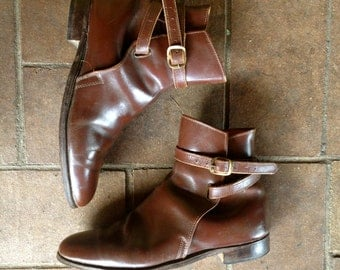 Vintage 1960s Jodhpur Riding boots//All leather//motorcycle boots//Chestnut ankle boots//Size 8.5