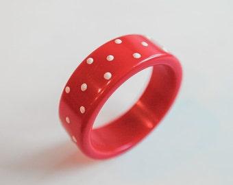 Red & White Polka Dot Wooden Bracelet