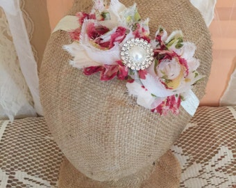 Ivory Floral Chiffon Shabby Chic Headband Embellished with Pearl and Rhinstones